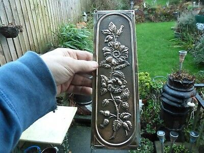 Beautiful vintage brass Finger Plate Push Door Handle Nouveau flowers ornate