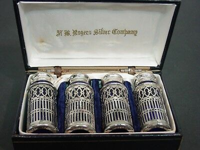 F.B. Rogers Silver Co. Cobalt Blue Silver Plate Salt & Pepper Shakers in Box