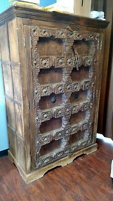 Antique Beautifully Hand Carved Wood Armoire From Indonesia or India OLD RARE