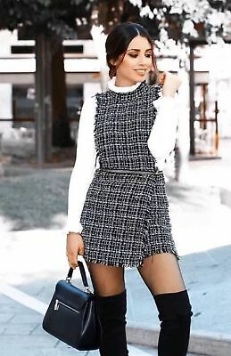 fd0a2be51ff Zara New F w 2018. Black Tweed Playsuit Jumpsuit With Chain Trims. Ref