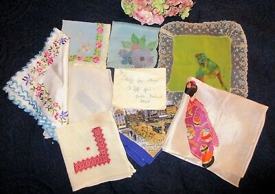 Antique Lot 8 Silk/rayon Hankies~Lace~Flapper~Irish~Canton~Assisi~Embroidery +