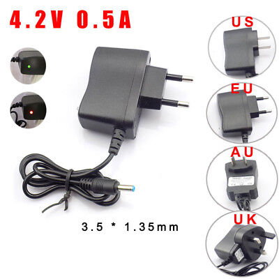AC DC 4.2V 500MA 18650 battery Wall charger plug for LED headlamp torch adapter