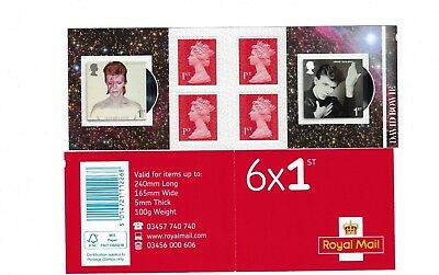 Brand New as issued by Royal Mail David Bowie - Books of 6 1st class stamps