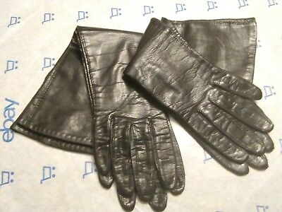 VTG 60's (2) Pair of Black Leather Below the Elbow Gloves size 6