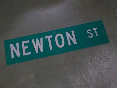 "Vintage ORIGINAL NEWTON ST Street Sign 36"" X 9"" White Lettering on Green Ground"