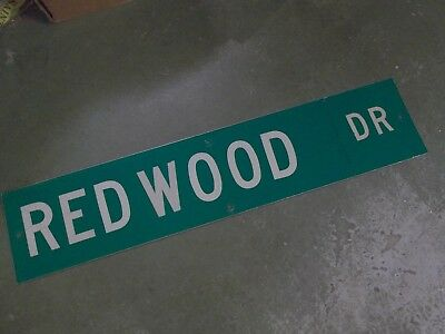 "Vintage Original REDWOOD DR Street Sign 42"" X 9"" White on Green"