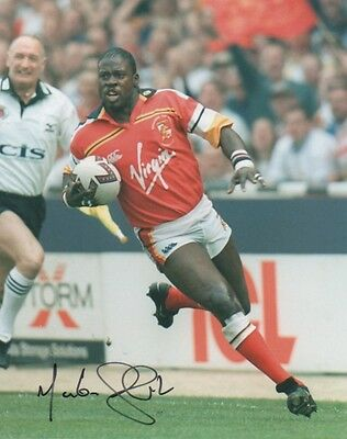 MARTIN OFFIAH Signed 10X8 Photo WIGAN & ENGLAND Rugby League LEGEND COA