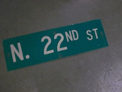 "Vintage Original N 22ND ST  Street Sign 30"" X 9"" ~ White on Green"