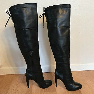 e82e00bebf8f SAM EDELMAN Over the Knee Black Suede Leather Faux Fur Slouch Boots ...