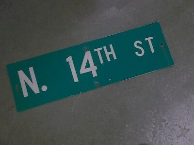 "Vintage Original N. 14TH ST  Street Sign 30"" X 9"" ~ White on Green"