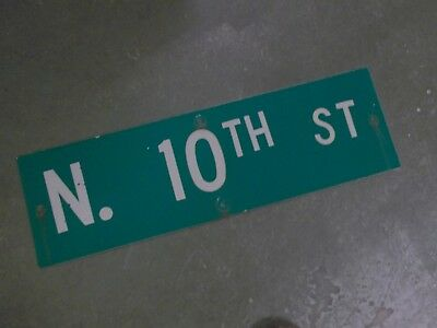 "Vintage Original N. 10TH ST  Street Sign 30"" X 9"" ~ White on Green"