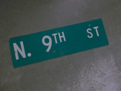 "Vintage Original N. 9TH ST  Street Sign 30"" X 9"" ~ White on Green"