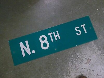 "Vintage Original N. 8TH ST  Street Sign 30"" X 9"" ~ White on Green"