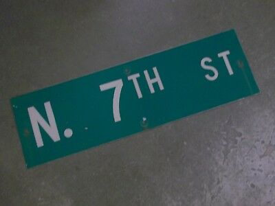 "Vintage Original N. 7TH ST  Street Sign 30"" X 9"" ~ White on Green"