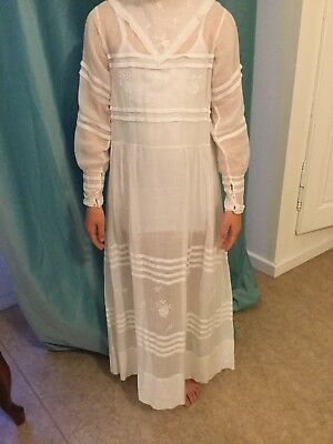 Antique French muslin gown Wedding Confirmation Communion dress 19th century