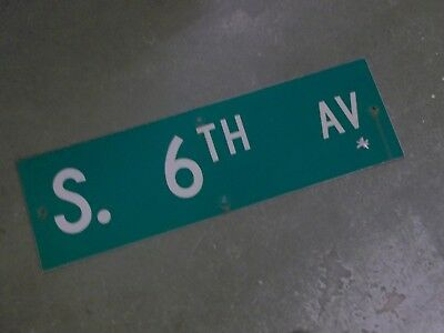 "Vintage Original S. 6TH ST  Street Sign 30"" X 9"" ~ White on Green"