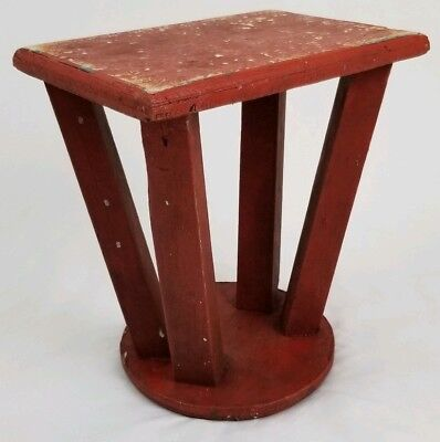 Vintage primitive milking stool step stool plant stand folk art antique