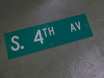 "Vintage Original S. 4TH AV  Street Sign 30"" X 9"" ~ White on Green"