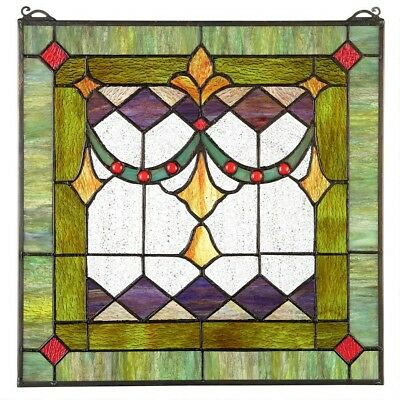 """17"""" H x  17"""" W Victorian Tiffany-Style Stained Glass Window Panel"""
