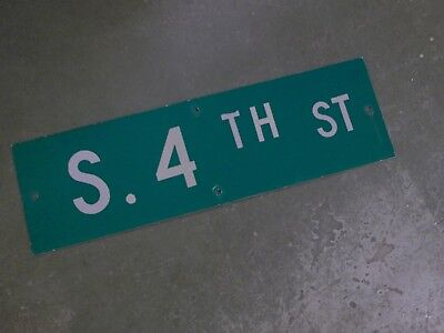 "Vintage Original S. 4TH ST  Street Sign 30"" X 9"" ~ White on Green"