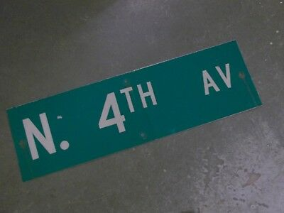 "Vintage Original N. 4TH AV  Street Sign 30"" X 9"" ~ White on Green"