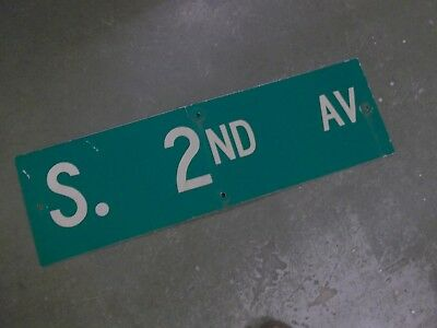 "Vintage Original S. 2ND AV  Street Sign 30"" X 9"" ~ White on Green"