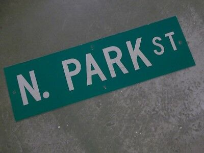 "Vintage Original N. PARK ST  Street Sign 30"" X 9"" ~ White on Green"