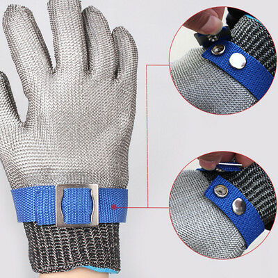 Safety Cut Proof Stab Resistant Stainless Steel Gloves Metal Mesh Butcher L  LJ