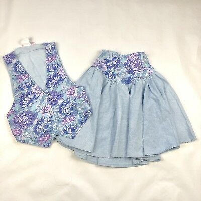 Vintage Girls 80's 2 Piece Floral Chambray Vest And Skirt Set Size 12Y