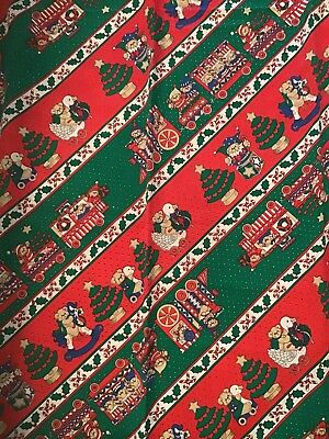 "Vintage Lucy Bears, Lucy Rigg Round 66"" Christmas Teddy Bear Train Tablecloth"
