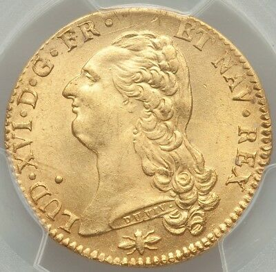Louis XVI Double louis d'or à la tête nue 1786 D Lyon 2nd Sem PCGS MS64 FDC