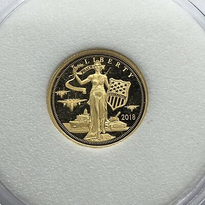 2018 Cook Islands $5 Gold Coin US Peace Through Strength 1/10 Oz