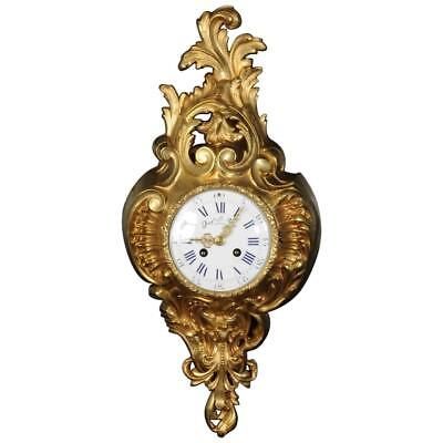 Samuel Marti Gilt Bronze Cartel Wall Clock - L@@k!