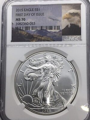 2015 American Silver Eagle 1oz NGC MS70 First Day of Issue Eagle Label