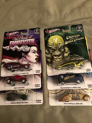 Hot Wheels Pop Culture  2012 Universal Studios Monsters Complete Set Of 6