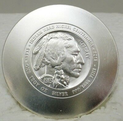 Daniel Carr 2013 Indian Head Buffalo Nickel Centennial .999 1 oz. Silver Round