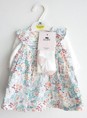 Baby Girls Cord Dress Bodysuit & Tight Set Outfit  Ex M&S NB to 1 Month RRP £18