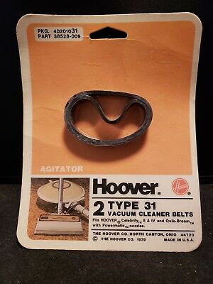 Vintage Genuine Hoover Agitator Type 31 Vacuum Cleaner Belts Celebrity II IV