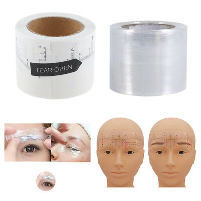 1 Roll Adhesive Eyebrow Ruler Sticker and 1 Roll Lip Brow Plastic Wrap Film