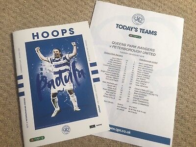 18/19 QPR v PETERBOROUGH PROGRAMME & TEAM SHEET - CARABAO LEAGUE CUP 14 AUG 2018