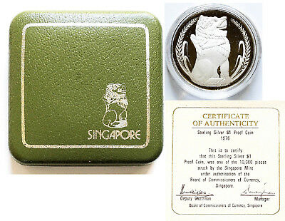 #1: 1976 Singapore $1.00 Sterling Proof Silver Coin (Unc) With Box & Coa# 06921
