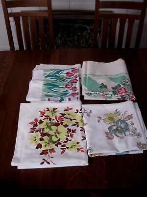 Vintage Lot Of 4 Floral Design Tablecloths 3 card table 1 rectangle