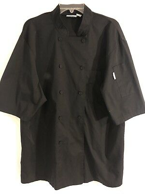 CHEF WORKS SIZE LARGE BLACK Mens CHEF COAT. Preowned