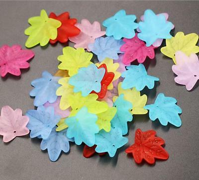 100pcs Acrylic frosted Maple leaf Pendant Beads Jewelry material Accessorie 25mm