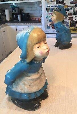 Vintage Kissing Dutch Girl ONLY Garden Yard Cement Concrete Statues Ornament