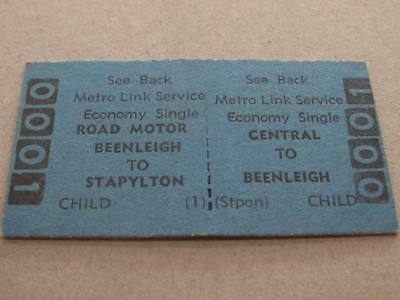 CENTRAL to BEENLEIGH to STAPYLTON SINGLE TICKET - QUEENSLAND RAILWAYS METRO LINK