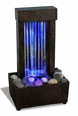 Color Changing Water Fountain LED Lights Rocks Waterfall Tabletop Desk Table Spa