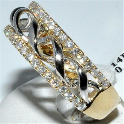 Fashion Women Men 14K Solid Yellow Gold White Sapphire Stack Twisted Ring Sz6-10