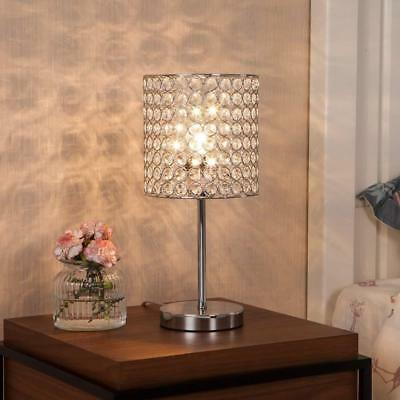 Modern Crystal Table Lamp with Chrome Crystal Shade for Bedroom