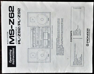 Pioneer Operating Instructions for Music System MS-Z62. Turntable PL-Z82 PL-Z92